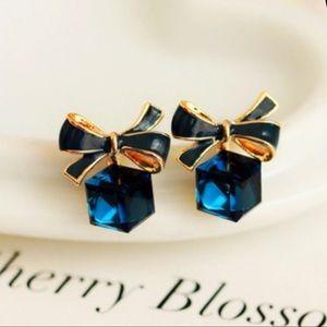 Jewelry - 3/35 New Blue Cubic Zirconia Bow Stud Earrings